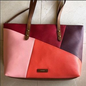 Fossil Red Multi Colorblocked Tote